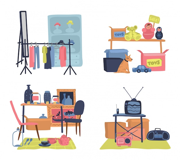 Vente aux puces. commercialisation de vêtements et d'accessoires hipster colorés, illustration de magasin de meubles et de trucs d'occasion