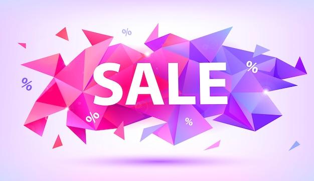 Vente bannière de cristal à facettes. affiche de forme abstraite, carte, publicité