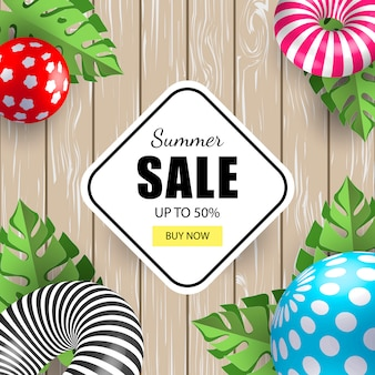 Vente de bannière d'été avec des boules 3d