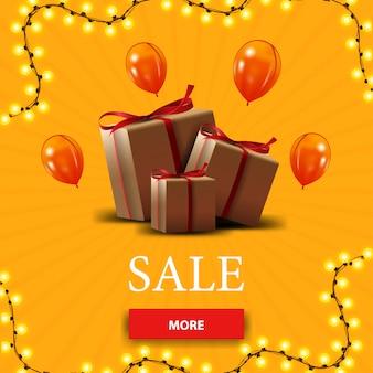 Vente, bannière de réduction jaune avec boutons et coffrets cadeaux