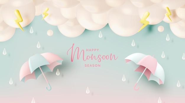 Vente de bannière de saison de mousson avec schéma de couleurs pastel et illustration vectorielle de style art papier
