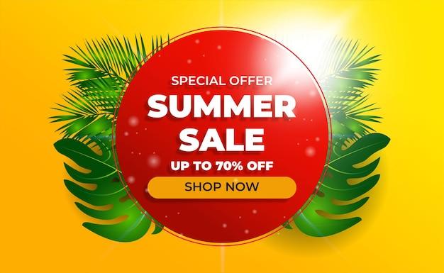 Vente De Bannière De Vente D'été Avec Fond Orange Vecteur Premium