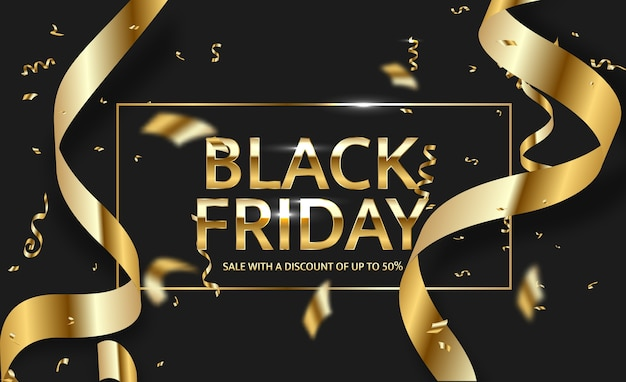Vente black friday noir et or.