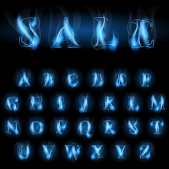 Vente bleu feu lettres de l'alphabet latin