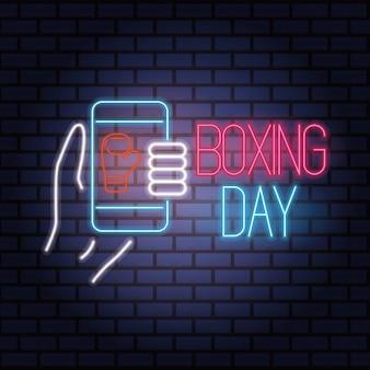 Vente de boxe néons avec smartphone vector illustration design