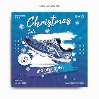 Vente de chaussures de noël sur les médias sociaux instagram poster modèle de bannière nouvelle promotion de cour