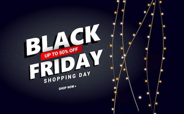 Vente créative du vendredi noir avec des confettis étoiles pour affiche, bannières, flyers, carte.