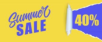 Vente d'été Quarante pour cent de lettrage. Inscription Shopping dans les couleurs jaunes et bleues