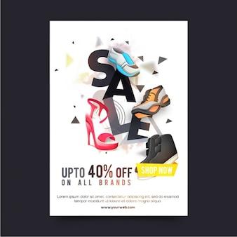 Vente dépliant avec des chaussures décoratifs