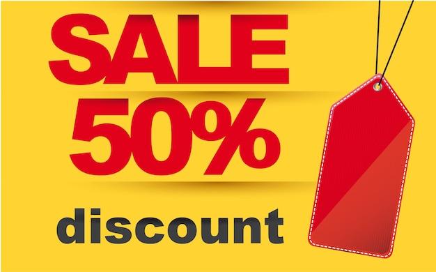 Vente avec discount et illustration vectorielle tag rouge