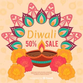 Vente de diwali coloré dessiné à la main
