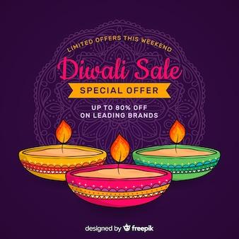 Vente de diwali dessiné à la main et bougies dans la nuit