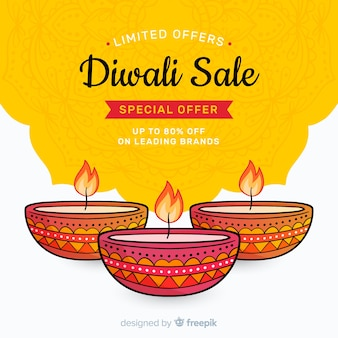 Vente de diwali dessiné à la main et bougies