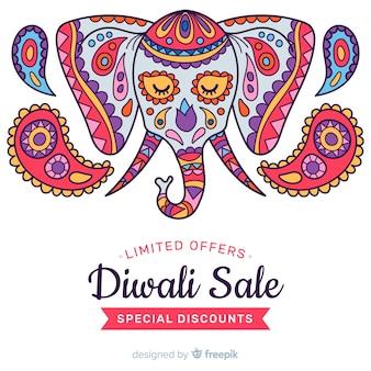 Vente de diwali dessiné à la main et visage coloré d'un éléphant
