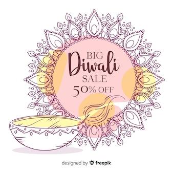 Vente de diwali dessiné à la main