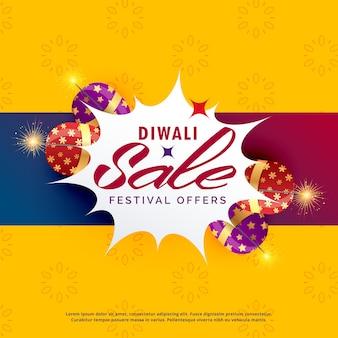 Vente de diwali lumineux et conception d'affiche de réduction avec des craquelins