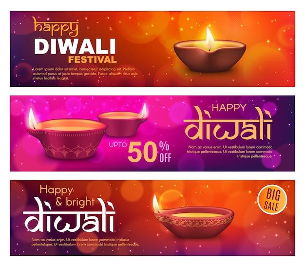 La vente de diwali propose des bannières avec des lampes diya du festival de la lumière indienne deepavali. religion hindoue vacances prix discount cartes d'achat et flyers avec lampes à huile, flammes de feu et décorations rangoli