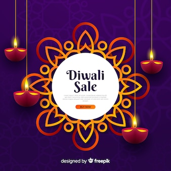 Vente de diwali réaliste avec des bougies