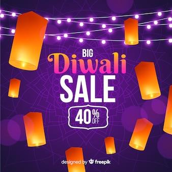 Vente de diwali réaliste avec remise