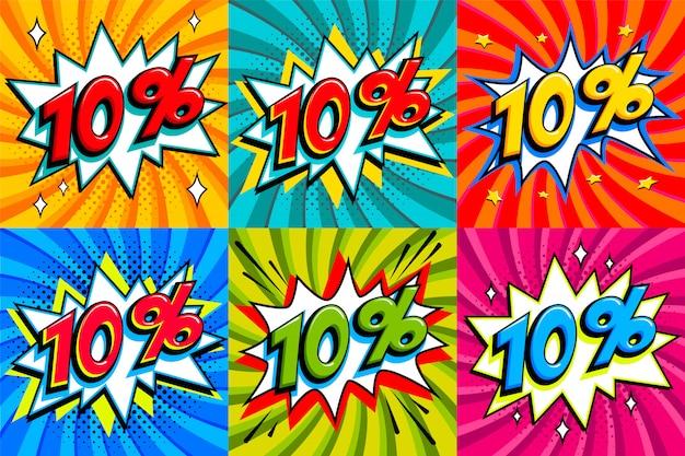 Vente dix pour cent 10% de réduction sur les étiquettes