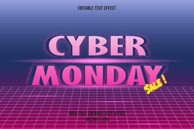 Vente du cyber lundi! effet de texte couleur bleu et rose avec style rétro