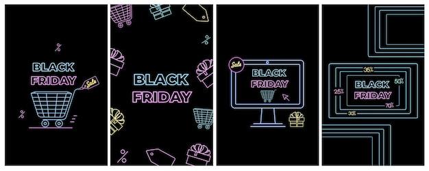 Vente du vendredi noir. achats en ligne, annonces internet dans un style néon. commerce électronique. bannières promotionnelles.