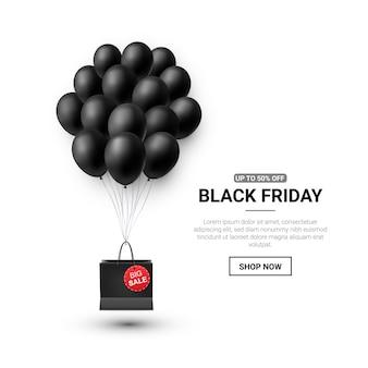 Vente du vendredi noir avec des ballons brillants
