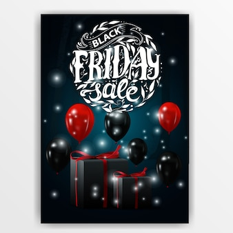 Vente du vendredi noir. bannière avec des ballons noirs et des cadeaux