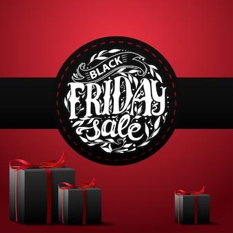 Vente du vendredi noir. bannière avec des cadeaux et des lettres