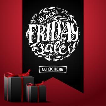 Vente du vendredi noir. bannière avec des cadeaux