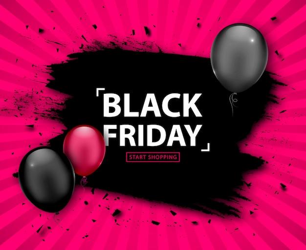 Vente du vendredi noir. bannière grunge discount avec des ballons