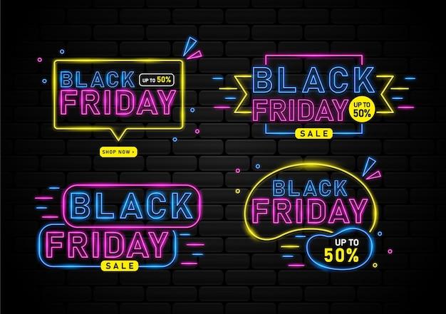 Vente du vendredi noir avec bannière lumineuse au néon