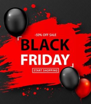Vente du vendredi noir. bannière de réduction avec cadre grunge rouge et ballons