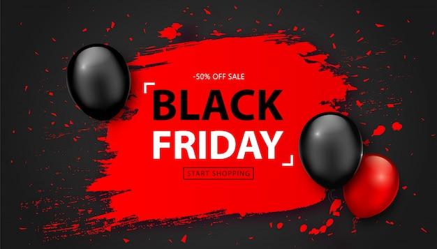 Vente du vendredi noir. bannière de remise avec des ballons