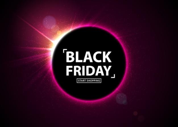 Vente du vendredi noir. bannière rougeoyante avec flash lumineux