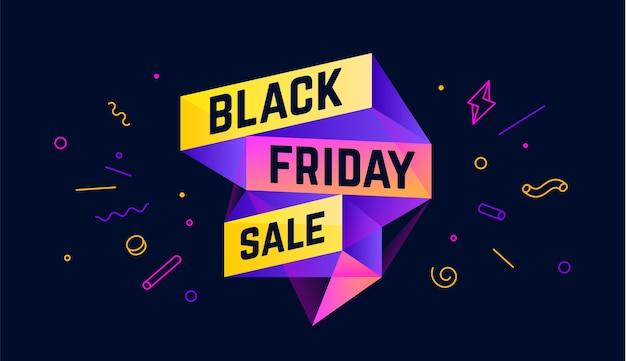 Vente du vendredi noir. bannière de vente 3d avec texte black friday vente d'émotion