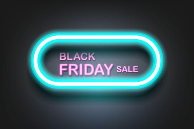 Vente du vendredi noir avec fond de bannière lumière néon.