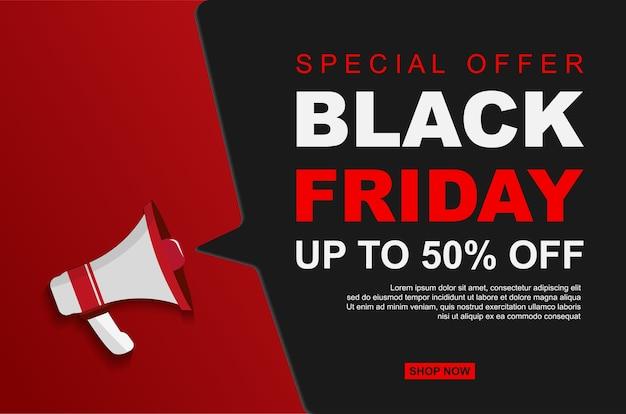Vente du vendredi noir moderne jusqu'à 50% de réduction avec des mégaphones.