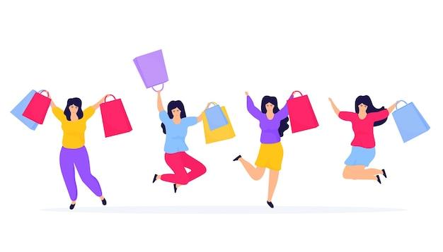 Vente du vendredi noir. shopping filles sautant et se réjouissant