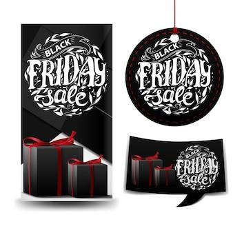 Vente du vendredi noir. trois bannières avec des cadeaux