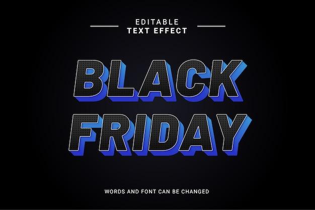 Vente d'effet de texte vendredi noir audacieux avec couleur noir et bleu