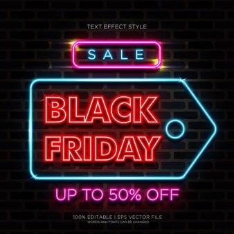 Vente effets de texte noir vendredi neon