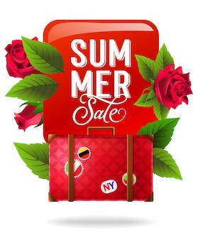 Vente d'été, affiche colorée avec des roses rouges et valise. texte calligraphique sur le carré rouge