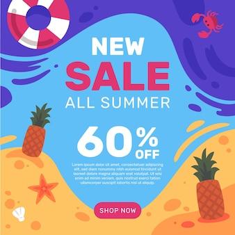 Vente d'été d'ananas et de crabe