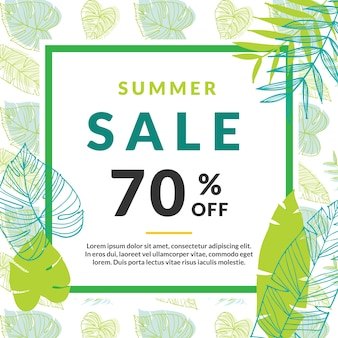Vente d'été banderole avec des feuilles de palmier