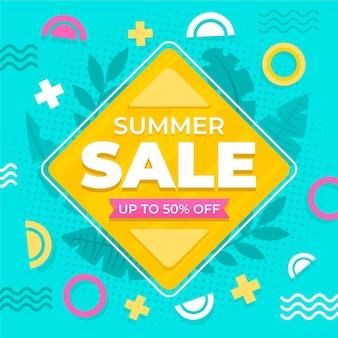 Vente d'été design plat avec offre