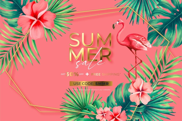 Vente d'été avec nature tropicale et cadre doré