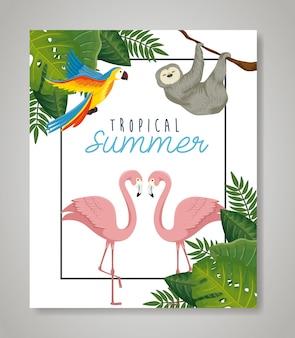 Vente d'été tropical avec cadre de fleurs et d'animaux exotiques