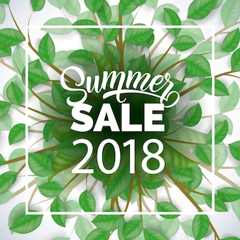 Vente d'été vingt dix-huit publicité avec des branches d'arbres et des feuilles vertes