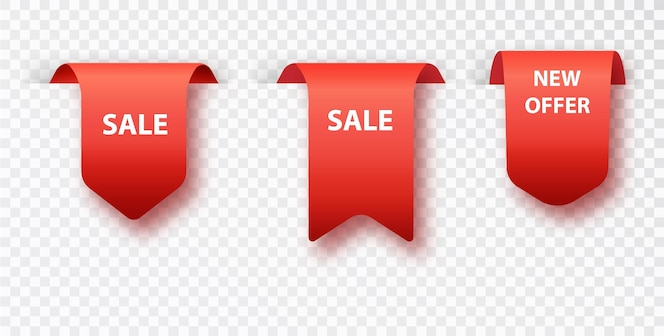 Vente d'étiquette de signet rouge isolée sur fond transparent. badges vectoriels et étiquettes isolés.